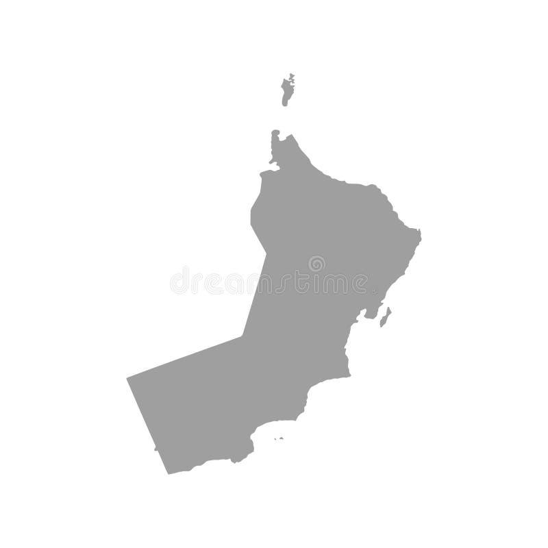 Sultanat des Oman-Vektorkartenschwarzschattenbildes lokalisiert auf weißem Hintergrund Hohe ausführliche Illustration lizenzfreie abbildung