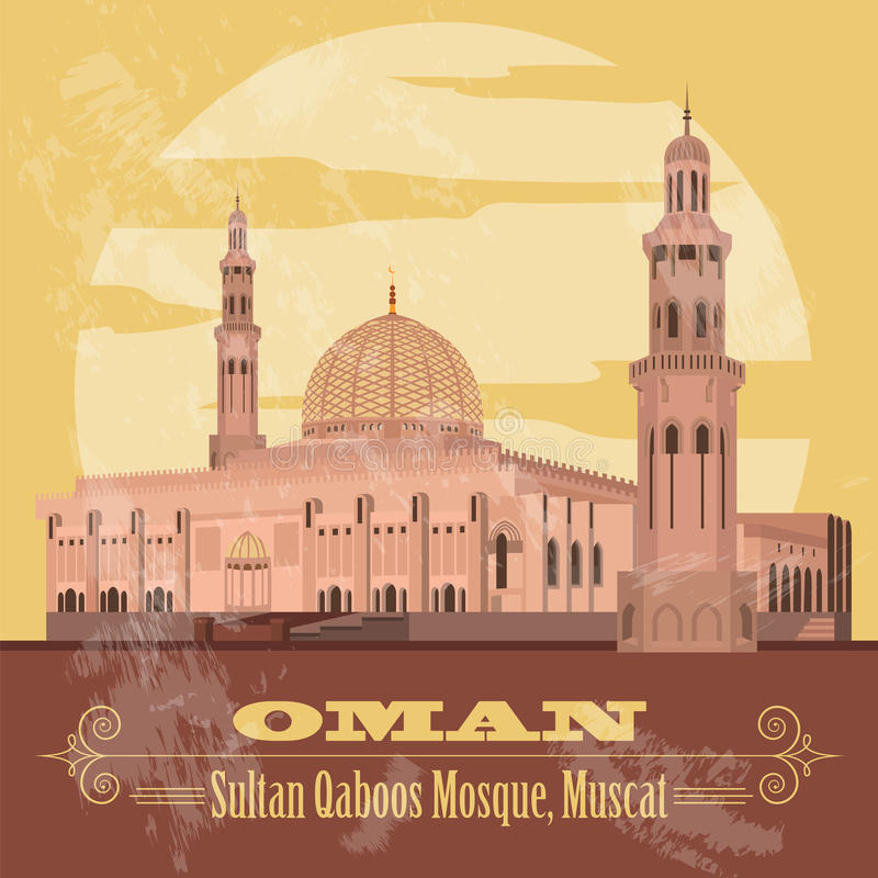 Sultanate of Oman landmarks. Retro styled image. Sultan Qaboos M. Osque in Muscat. Vector illustration stock illustration