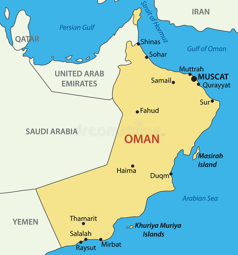 Sultanate Of Oman Vector Map Stock Vector Illustration of city