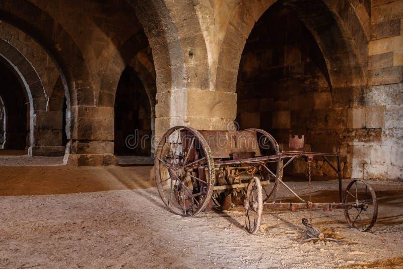 Sultanhani商队投宿的旅舍,阿克萨赖,土耳其 丝绸之路 主要大厅 免版税库存图片