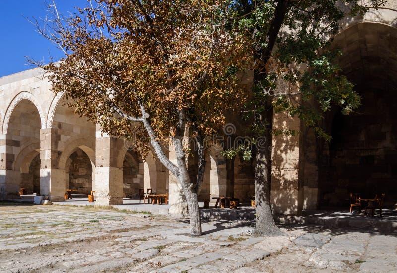 Sultanhani商队投宿的旅舍,阿克萨赖,土耳其 丝绸之路 庭院 库存图片