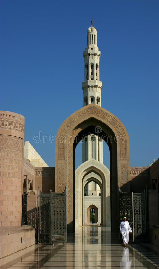 Entranc till sultanqaboosmoskén arkivfoto
