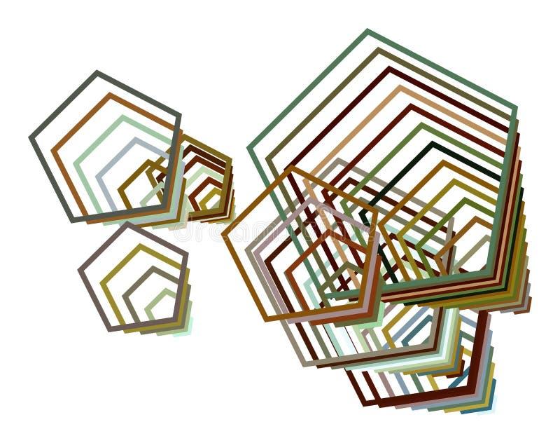 Sumário artístico do teste padrão do fundo do pentagon Efeito, contexto, desarrumado & vetor ilustração royalty free