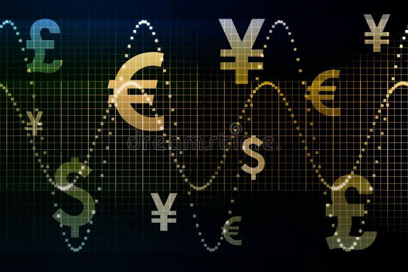 Sumário azul Backg do negócio das moedas do mundo do ouro ilustração royalty free
