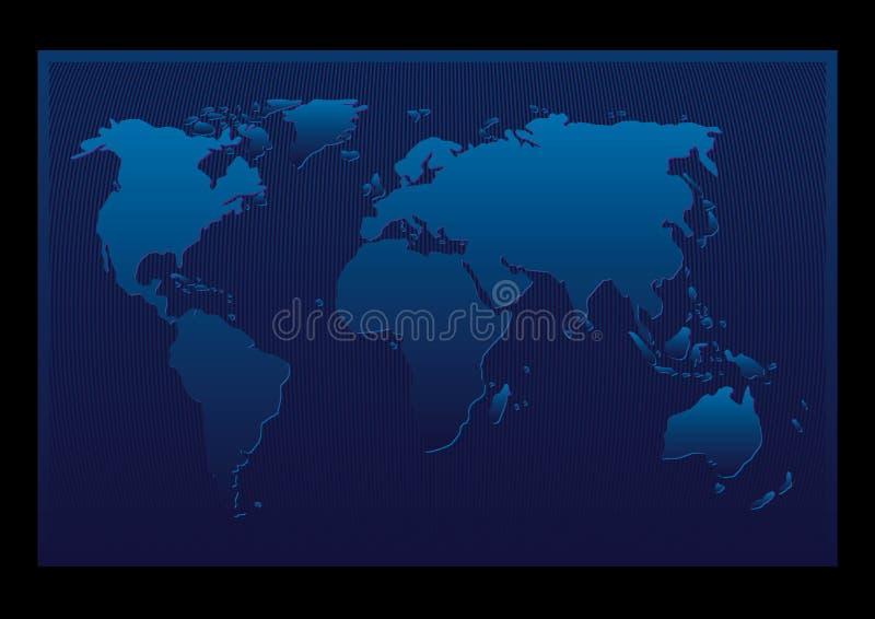 Sumário azul do mapa de mundo ilustração do vetor