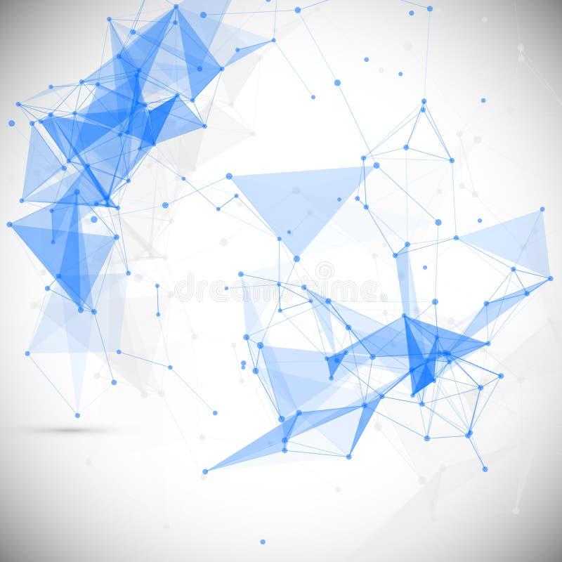 Sumário, baixo poli, molécula e comunicação ilustração do vetor
