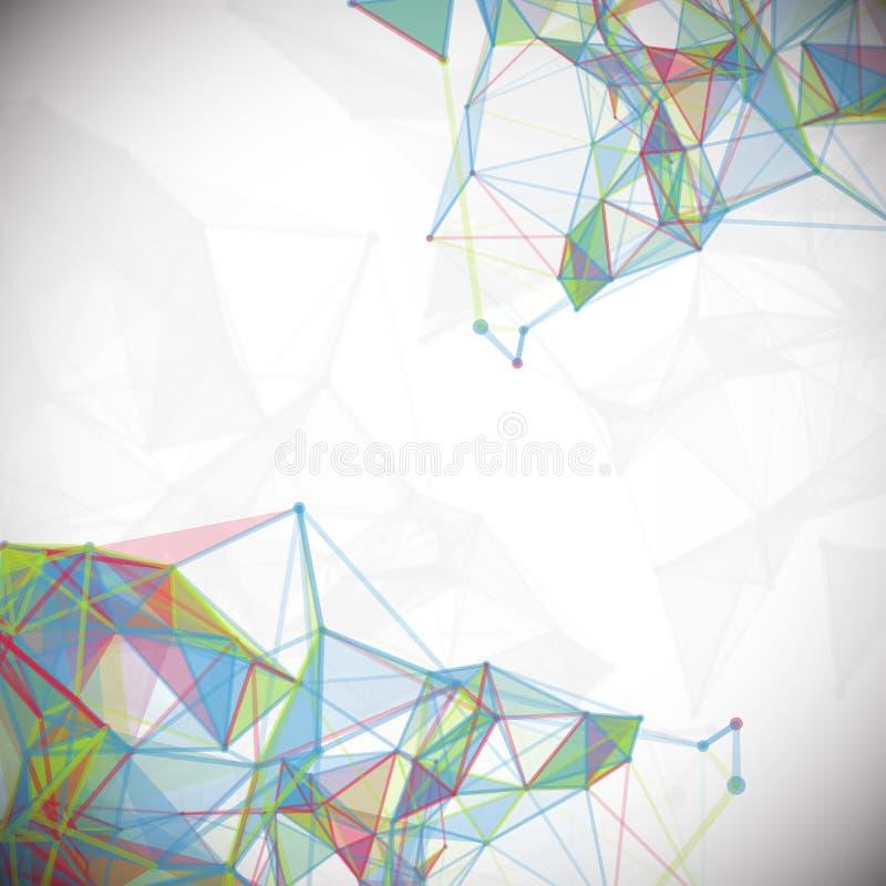 Sumário, baixo poli, molécula e comunicação ilustração stock