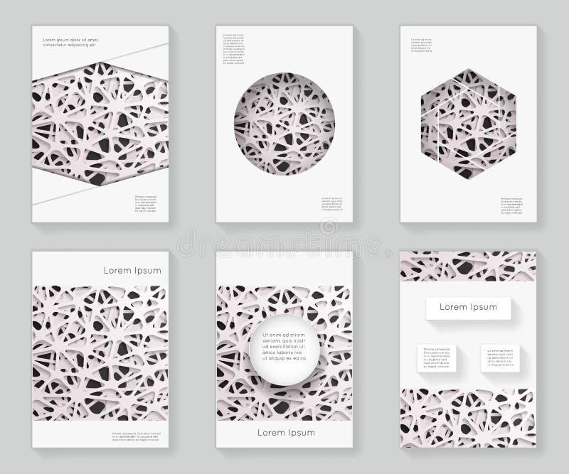 Sumário caótico 3d da grade sobre o fundo decorativo da brochura do folheto do livro do ornamento do quadro do teste padrão do pr ilustração do vetor