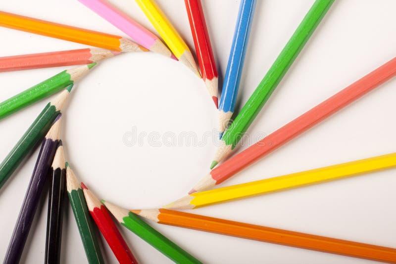 Sumário colorido dos lápis! Círculo imagens de stock
