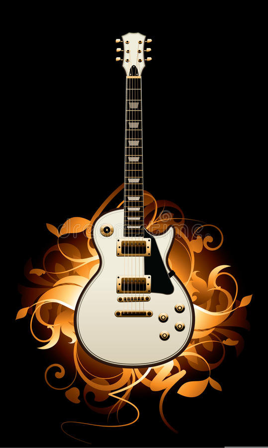 Sumário com guitarra ilustração stock