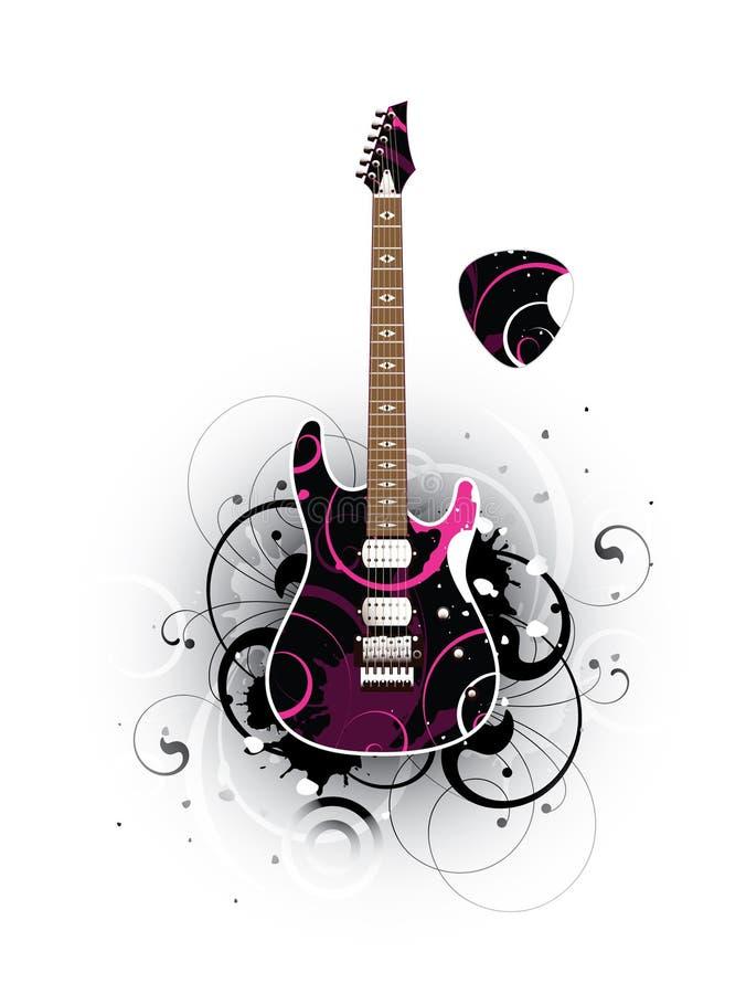 Sumário com a guitarra elétrica e o mediador modernos ilustração royalty free
