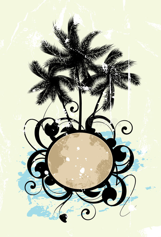 Sumário com palmeiras ilustração do vetor