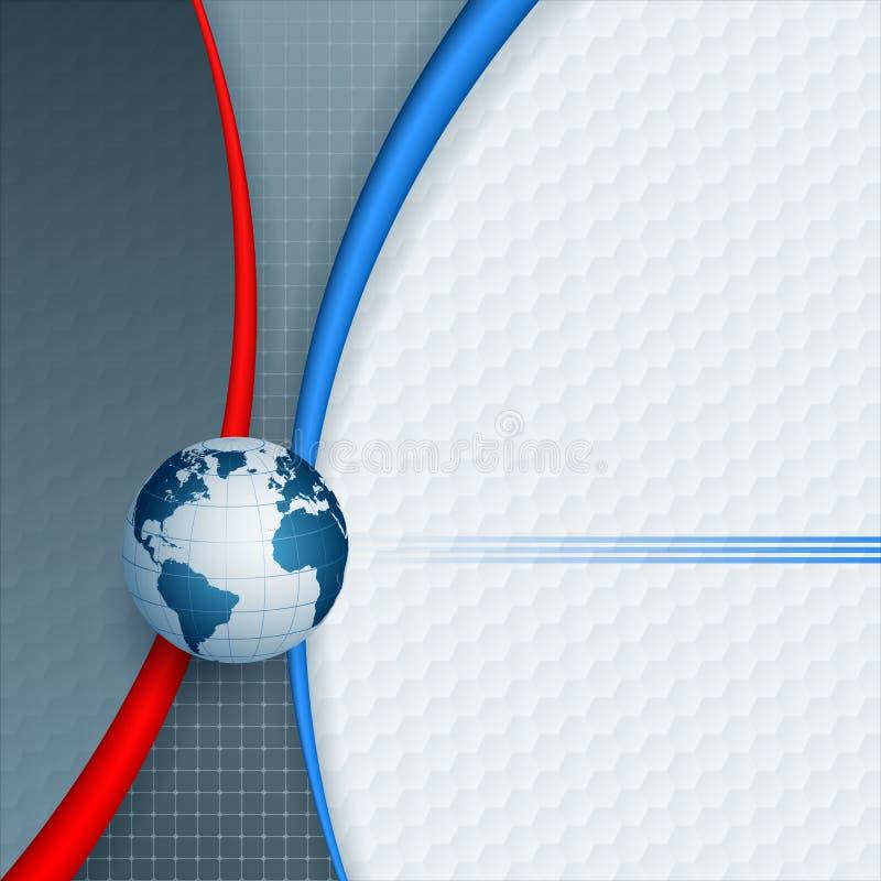Sumário, computador, fundo do projeto com globo da terra ilustração do vetor