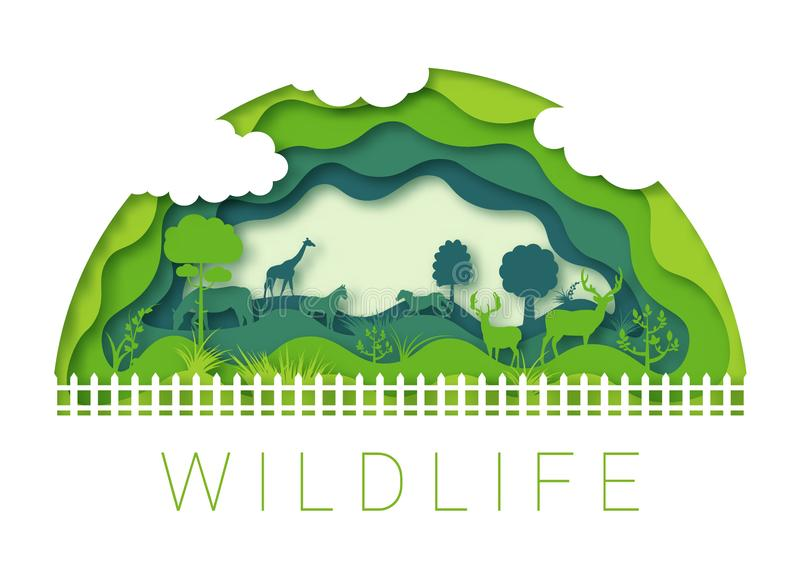 Sumário cortado de papel Vetor 10 eps do ambiente do jardim zoológico dos animais selvagens ilustração do vetor