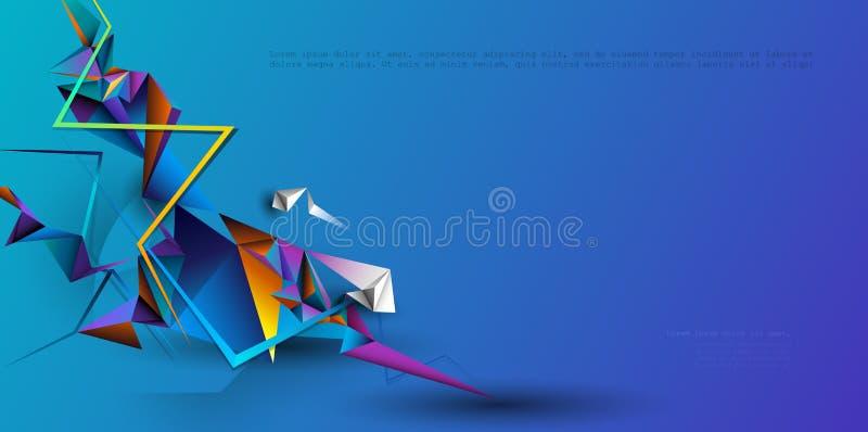 Sumário 3D geométrico, projeto do vetor do fundo do polígono Fundo poligonal para a bandeira, molde, negócio, design web ilustração do vetor