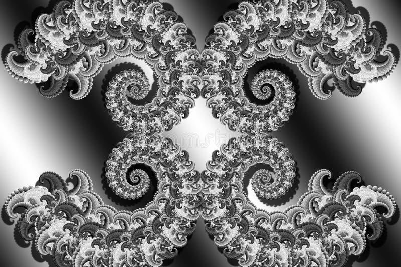 Sumário 3D-image com um volume em um fundo preto e branco de elementos modelados do fractal, screensaver à moda moderno da fantas ilustração royalty free