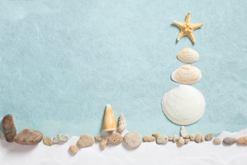 Sumário da árvore de Natal das conchas do mar fotografia de stock royalty free