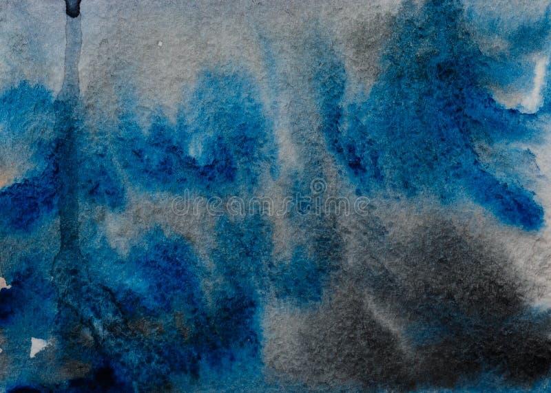 Sumário da aquarela do preto azul ilustração do vetor