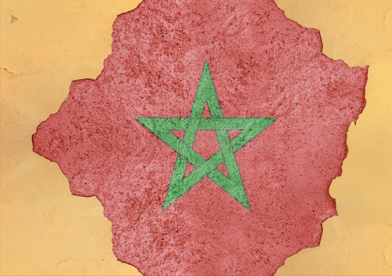Sumário da bandeira de Marrocos no concreto danificado grande do rancor da estrutura da fachada imagens de stock