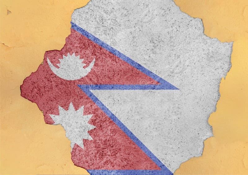 Sumário da bandeira de Nepal no concreto danificado grande do rancor da estrutura da fachada imagem de stock royalty free