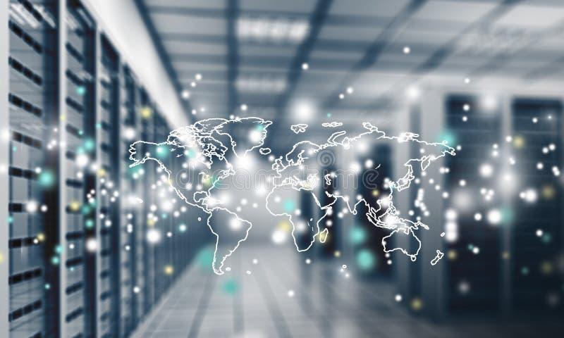 Sumário da elevação moderna - centro de dados do Internet da tecnologia ilustração stock