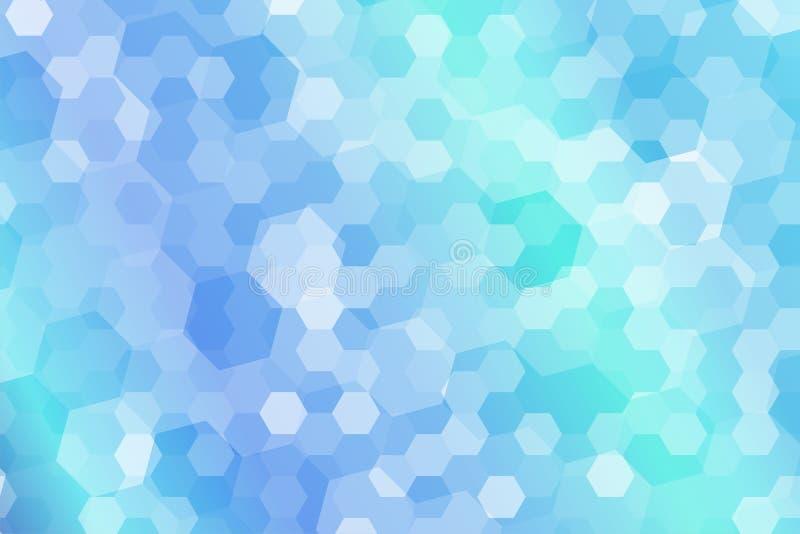 Sumário da forma do hexágono com a luz - azul e clara - fundo verde do inclinação ilustração stock