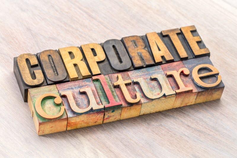 Sumário da palavra da cultura empresarial no tipo de madeira imagem de stock