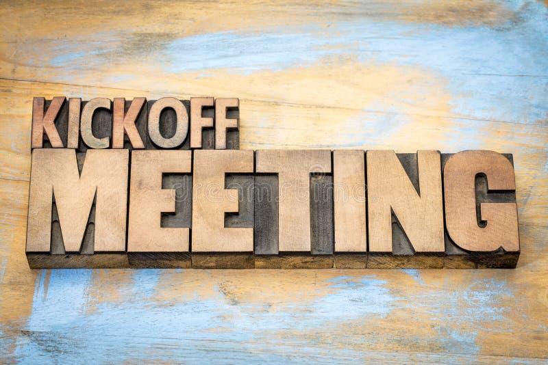 Sumário da palavra da reunião do lance inicial no tipo de madeira foto de stock royalty free