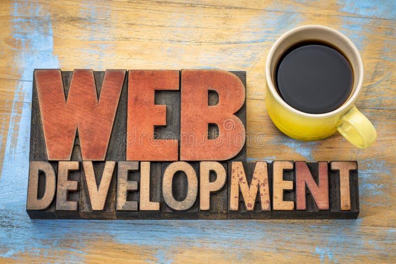Sumário da palavra do desenvolvimento da Web no tipo de madeira fotografia de stock