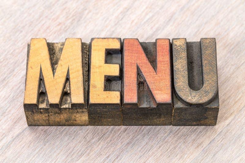 Sumário da palavra do menu no tipo de madeira fotos de stock