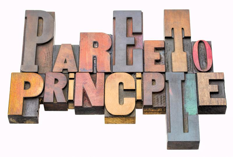 Sumário da palavra do princípio de Pareto no tipo de madeira imagem de stock