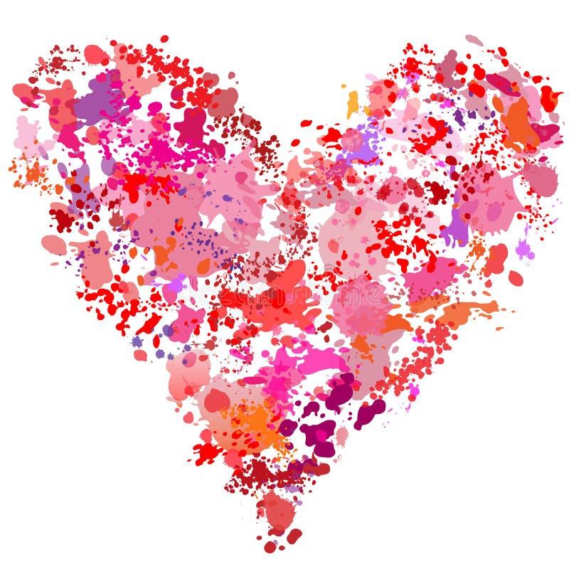 Sumário da pintura do splatter da pintura da forma do coração ilustração do vetor
