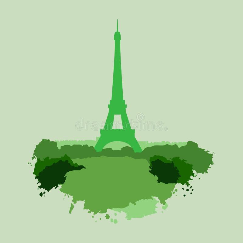 Sumário da pintura do verde da torre Eiffel ilustração royalty free