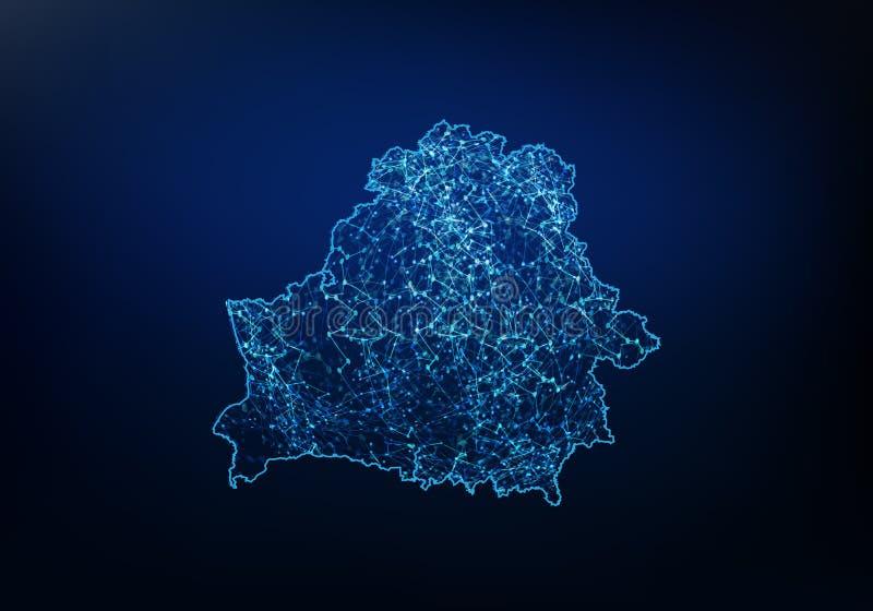 Sum?rio da rede do mapa de belarus, do Internet e do conceito global da conex?o, linha poligonal da rede da malha do quadro 3D do ilustração do vetor