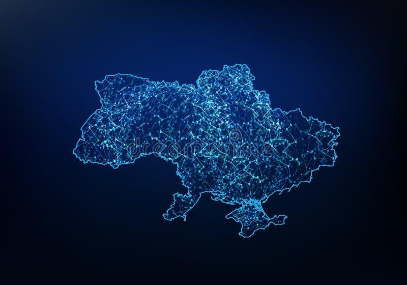 Sum?rio da rede do mapa de Ucr?nia, do Internet e do conceito global da conex?o, linha poligonal da rede da malha do quadro 3D do ilustração royalty free