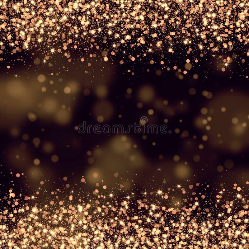 Sumário de brilho do bokeh do ouro ilustração do vetor