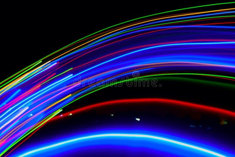 Sumário de colorido obscuro de luzes do diodo emissor de luz dos movimentos imagens de stock