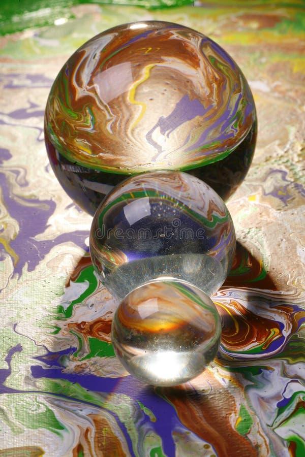 Sumário de três esferas de vidro   fotos de stock royalty free