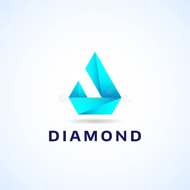 Sumário Diamond Shape Company Logo Template geométrico azul ilustração stock