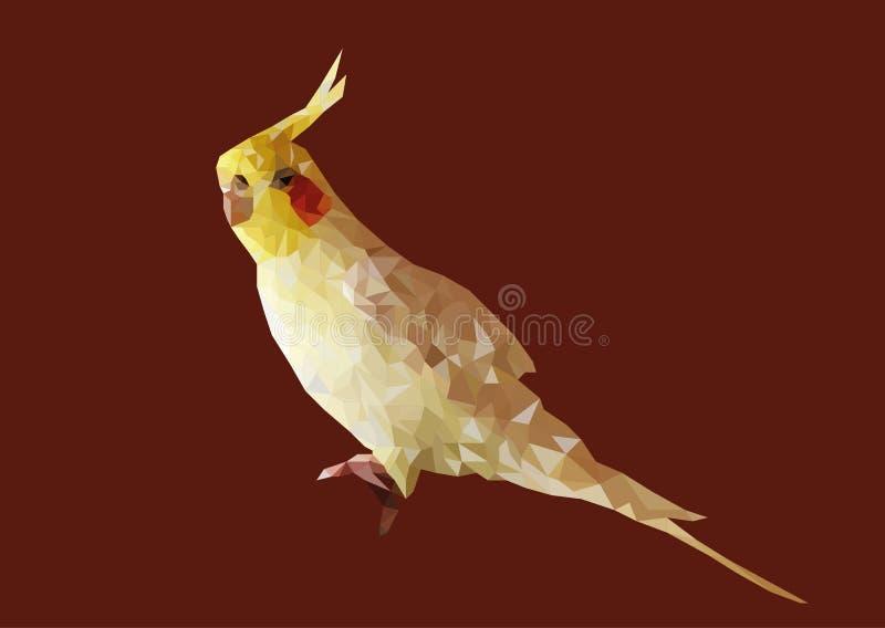 Sumário do baixo vetor poli do Cockatiel amarelo foto de stock