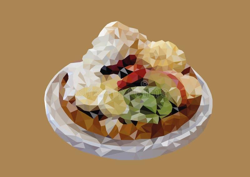 Sumário do baixo vetor poli do waffle misturado do fruto imagens de stock