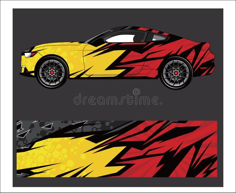 Sumário do carro e do veículo que compete o fundo gráfico do jogo para a etiqueta do envoltório e do vinil ilustração do vetor