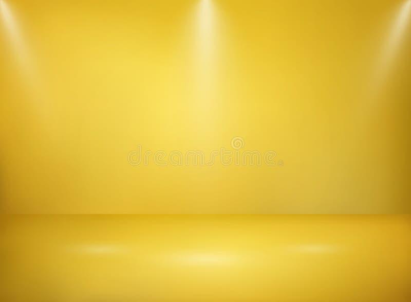 Sumário do fundo dourado largo da textura do metal do estúdio com lig ilustração stock