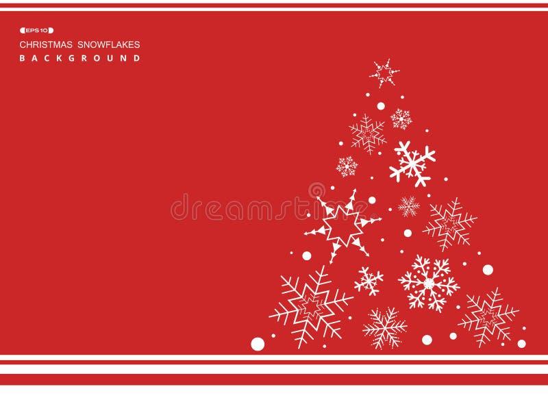 Sumário do fundo simples da cor vermelha do Natal com sno branco ilustração stock