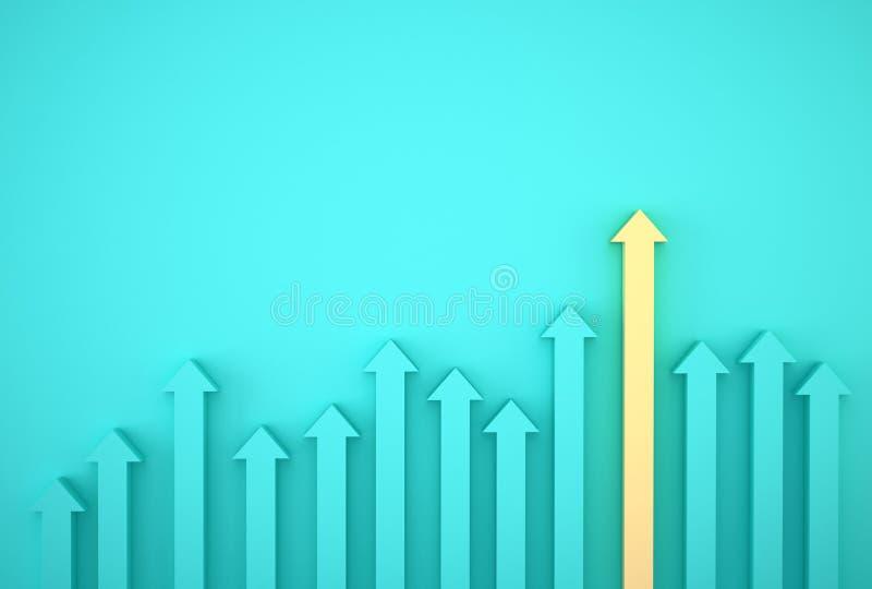 Sumário do gráfico amarelo da seta no fundo azul, plano incorporado do crescimento futuro Desenvolvimento de negócios ao sucesso  imagem de stock
