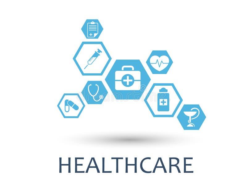 Sumário do hexágono O fundo da medicina com linhas, polígono, e integra ícones lisos Conceito de Infographic médico ilustração stock