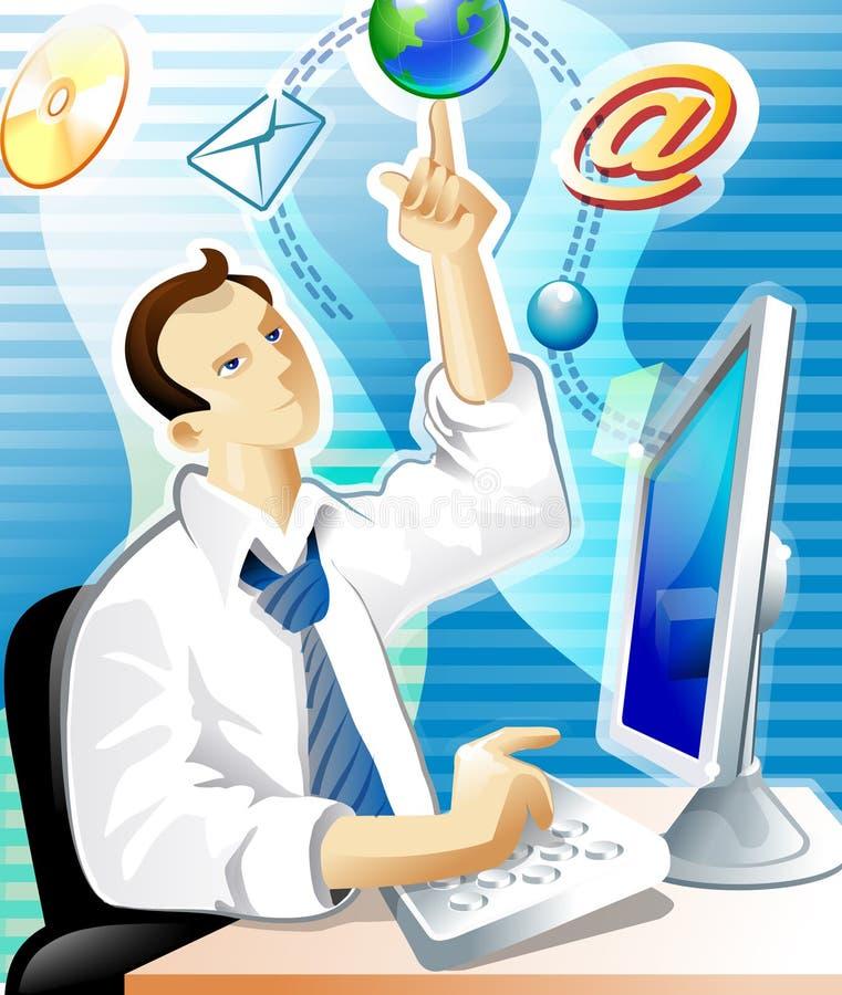 Sumário do homem e do email ilustração stock