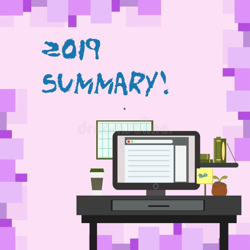 Sumário do texto 2019 da escrita Significado do conceito que resume ações principais dos eventos passados do ano ou a boa foto da ilustração royalty free