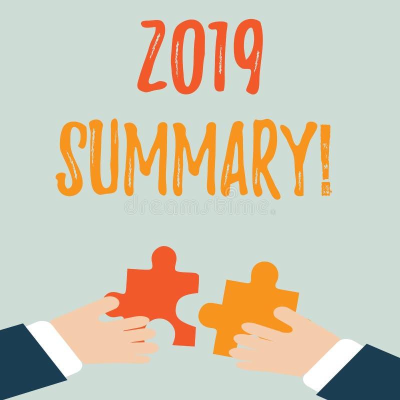 Sumário do texto 2019 da escrita Significado do conceito que resume ações principais dos eventos passados do ano ou bom guardar d ilustração stock