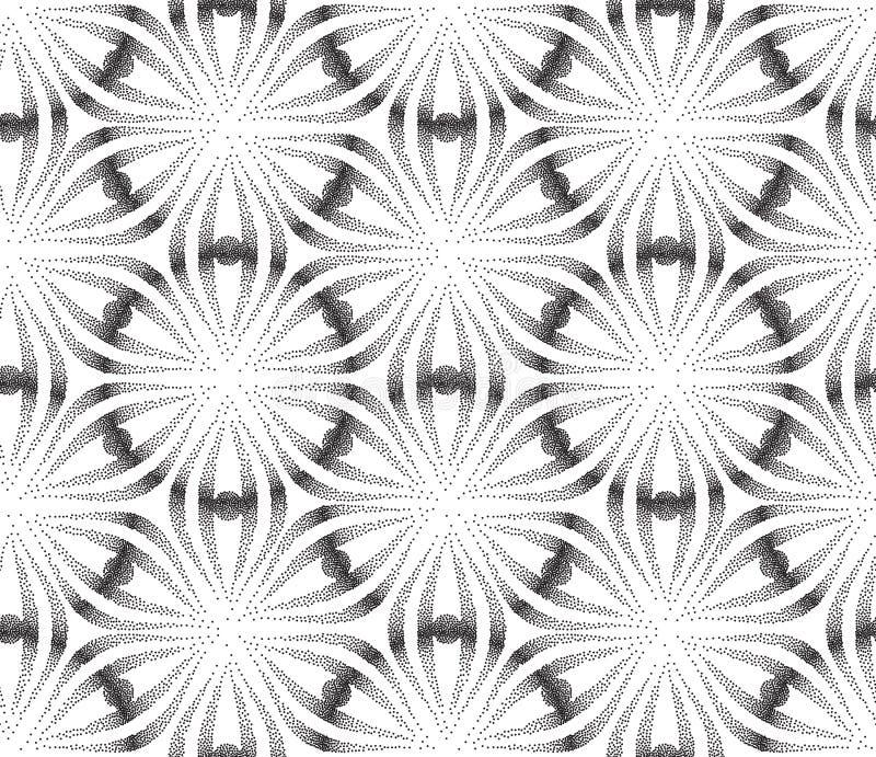 Sumário do vetor para pontilhar o teste padrão sem emenda Fundo branco e preto do Grunge pontilhado geométrico de Tileable ilustração royalty free
